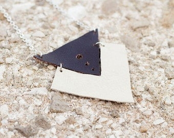 Dark brown and ivory leather geometric necklace, Ethnic necklace, triangles necklace, boho tribal necklace, gift for her