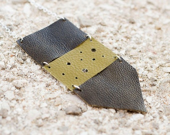 Olive green leather geometric necklace, Ethnic necklace, arrow necklace, boho tribal necklace, gift for her