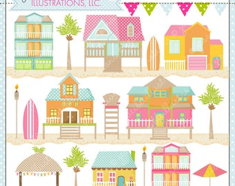 Beach Houses Cute Digital Clipart for Card Design, Scrapbooking, and Web Design, Beach Clipart, Beach Graphics