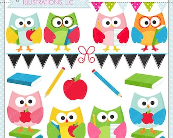 School Time Owls - Cute Digital Clipart for Commercial and Personal Use, School Owl Clipart, School Graphics, School Clip Art, Cute Owl