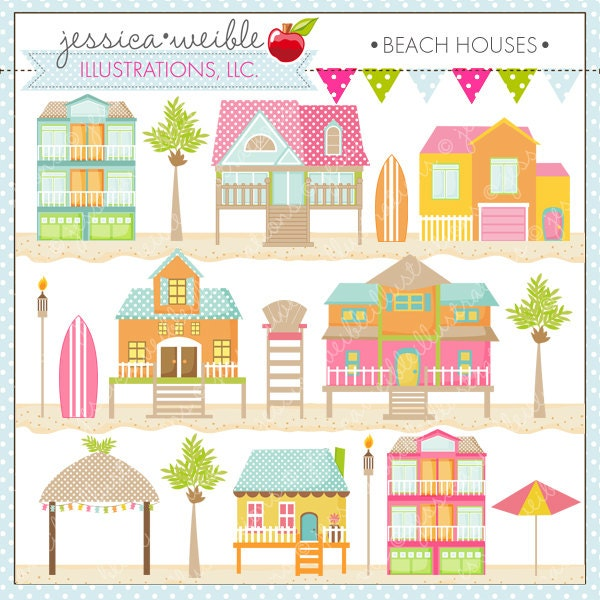Beach houses cute digital clipart for card design for Photos of cute houses
