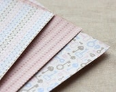 3 Set - Maze Pink Cross & Key Reform Fabric Stickers (A4)