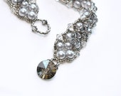 silver pearl & crystal bracelet . statement piece . swarovski crystal . pearl . bridal . bridesmaid . gift . special occassion. pageant