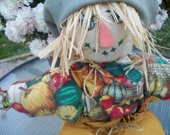 Vintage 16 Inch Autumn Stuffed Scarecrow Doll with Loop for Hanging