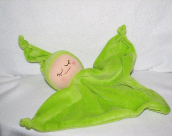 Babys first doll - Blanket Baby Doll - Security Blanket Doll in Bright Green RTG