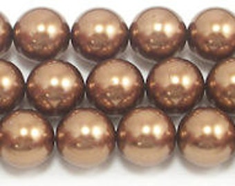 16mm Bronze Glass Pearl Beads (5)