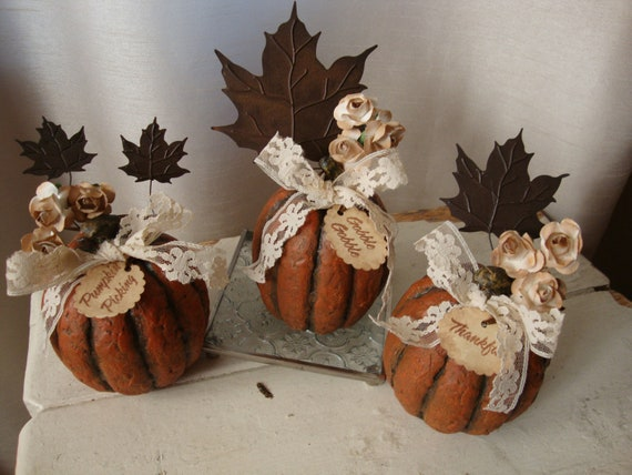 Fall pumpkins table decor cottage chic phrases gobble