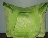 Lime Green and White, Paisley Tote BAG,  Medium Shoulder Purse, Work Purse, Spring BAG, Summer BAG