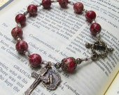 Red Rosary Bracelet with Bronze Medals in Vintage Style