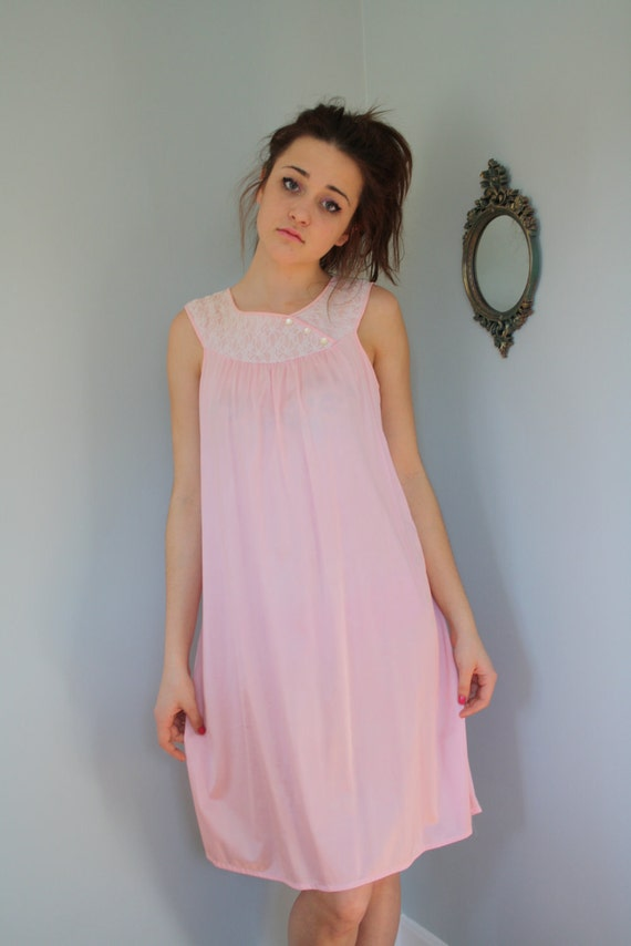 70s baby doll pink plus size nightgown lingerie boudoir mad men 60s size large
