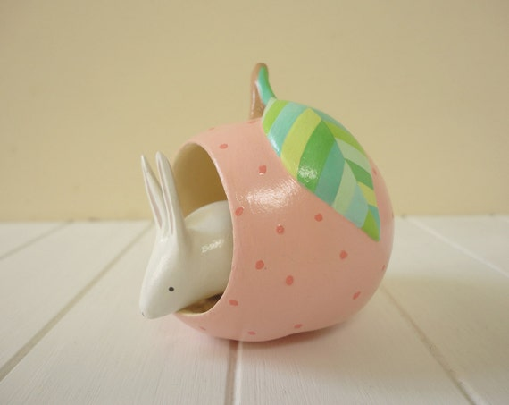 Bunny on a pink cherry - OOAK Hand painted gourd with bunny figurine