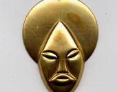 2 Small Face Brass Metal Stampings