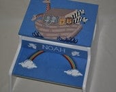 Kids Personalized 2 Step Stool and Storage Bench - Noah's Ark