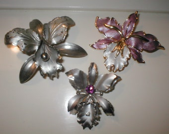 Lot of 3 Vintage ORCHID flower Brooches
