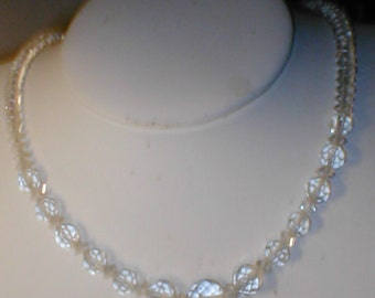 Vintage Clear Crystal Necklace 1940s