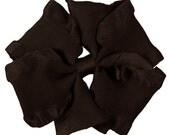 Medium Brown Double Ruffle Pinwheel Hairbow  Fancy  Hairbows Hair bows Toddlers Girls Photo Prop