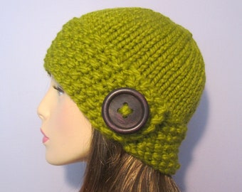 Green or Pick Your Color Hand Knit Hat