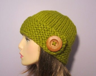 Knit Hat - Green Knit Hat with Wood Button - Winter Hat
