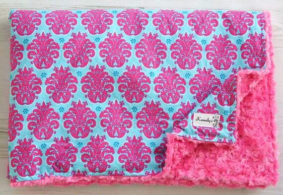 Baby Blanket Minky Solaria Medallion on Hot Pink Rosette Minky Blanket From Kemaily
