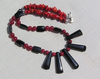 """Crystal Gemstone Statement Fan Necklace, Black Onyx & Natural Red Coral """"Crimson Nights"""", Red Necklace, Black Necklace, Chakra Necklace"""