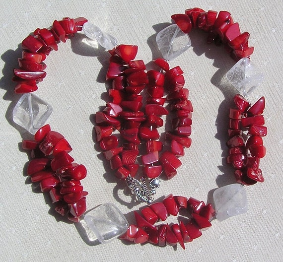 """Clear Quartz & Natural Red Coral Crystal Gemstone Necklace - """"Crimson Glory"""""""