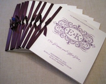 Square Wedding Programs with Satin Ribbon