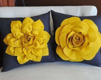TWO Decorative Flower Pillows -Mustard Yellow Dahlia and Mustard Yellow Rose on Charcoal Grey 14 X 14