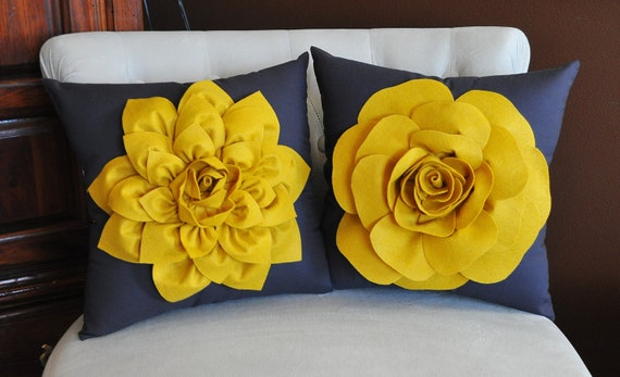 Items Similar To TWO Decorative Flower Pillows -Mustard