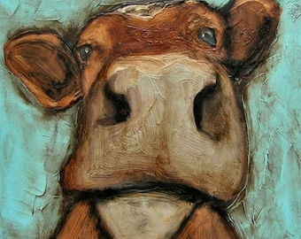 """8 x 10 IN - """"THE COWNT"""" - Farm Folk Art Giclee print from my original painting"""