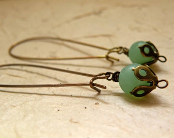 Anne    -     Pale Green Brass Earrings