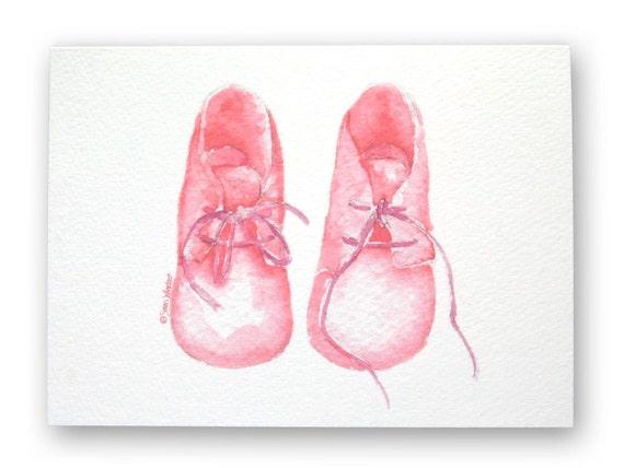 Pink Baby Booties Congratulations Card