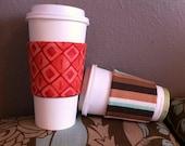 Coffee Sleeve (orange and teal flowers)
