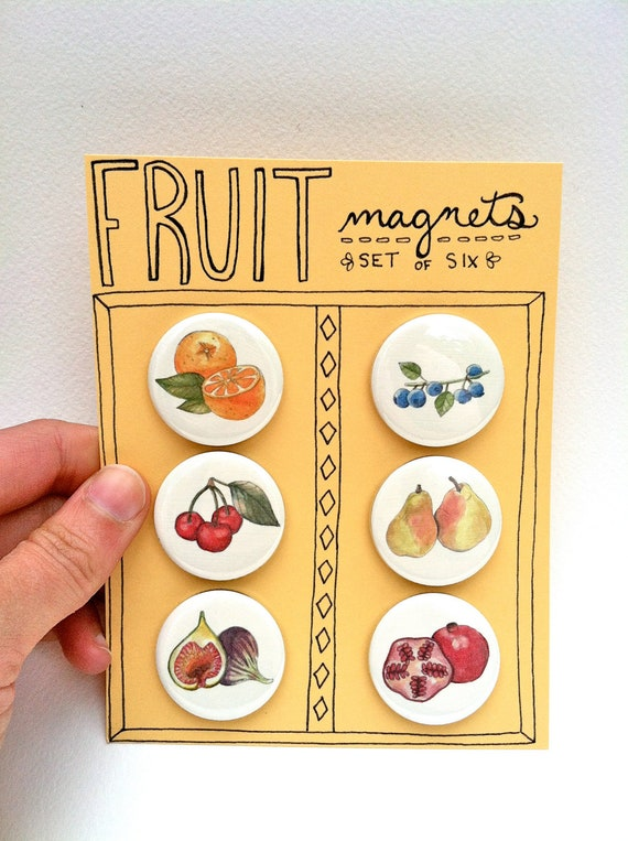 Fruit Magnets, Set of 6