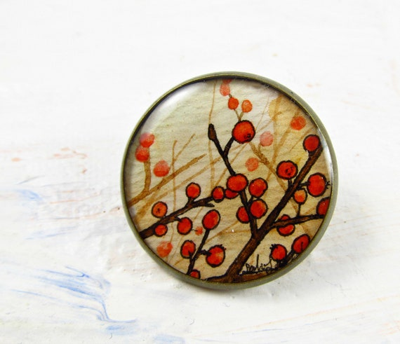 Floral Brooch Pin -- Red Winter Berries -- Hand Painted Watercolor Jewelry
