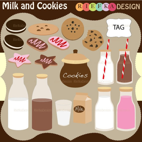 Milk and Cookies Clipart  Set
