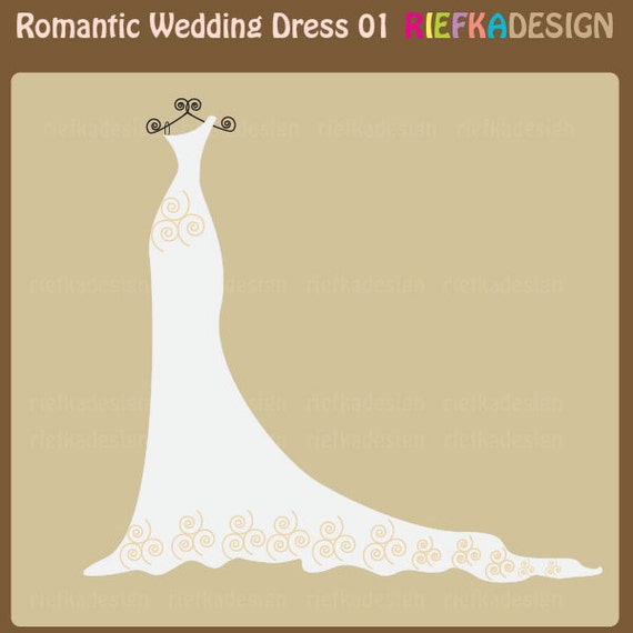 Wedding Gown Clip Art: Romantic Wedding Dress 01 Single Clipart