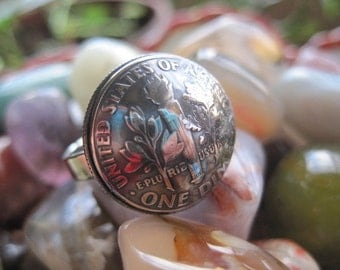 Tails-Up Super Awesome Domed Dime Ring with Sterling Silver Band MADE TO ORDER.