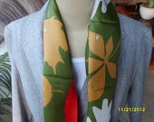 Vera  Silk Scarf Leaves and Ladybugs Vintage Autumn Fall Colors Green Oblong Japan Silk