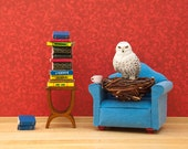 Snowy owl art print, harry potter inspired, bookworm, kids art, red, blue: Spellbound 8 x 10