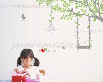 Kids Wall Decals - Swing Tree - Wall Decals Stickers Children Room Decor Removable Vinyl