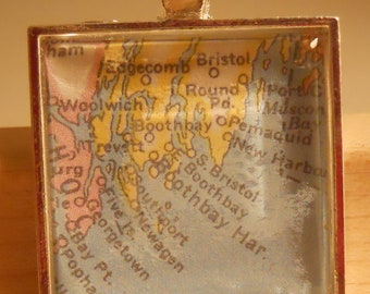 Boothbay Harbor Maine Map Pendant