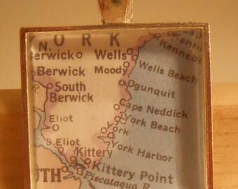 York Maine Map Pendant