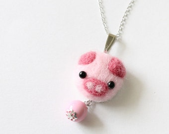 Wool Felted Piggy Necklace