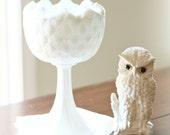 vintage milk glass compote tall pedestal