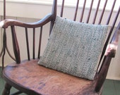 Rustic Chair Seat Pillow, Cushion Pad, Back Support, Handwoven Wool Diamond Pattern Sea Green & Gray, Ocean Beach Cottage Cabin Home Decor