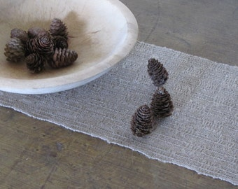 Modern Rustic Gray Linen Table Runner, French Country Cottage Decor, Farmhouse Home Decor, Wabi Sabi Hygge Woodland Cabin, Hand Woven Runner
