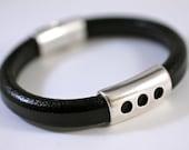 Modern Leather Bracelet Wide Cord Bangle Silver Bead Unisex Leather Bracelet Gift For Him Amy Fine Design