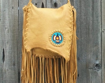 Fringed leather handbag with beaded thunderbird totem , Beaded crossbody handbag , Fringed buckskin leather possibles bag