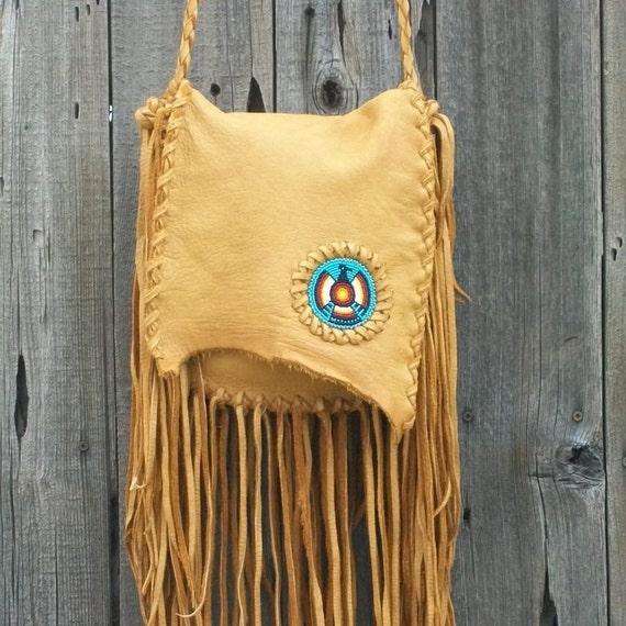 Fringed leather handbag with beaded thunderbird totem , Beaded crossbody handbag , Fringed buckskin leather possibles bag