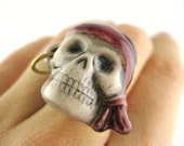 Pirate Skull Ring - Adjustable Womens Mens Skull Jewelry - Pirate Lolita Cosplay Accessory - Adjustable Ring
